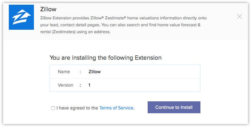 zillow extension online help zoho crm