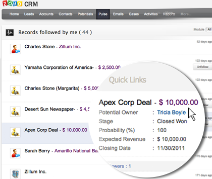 Track your sales activities
