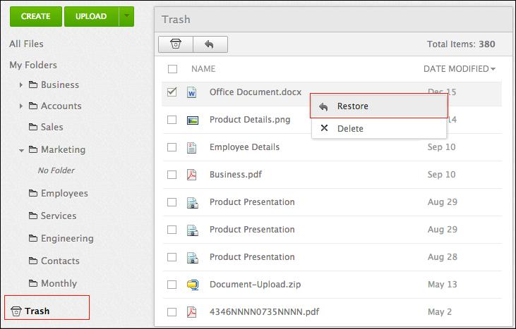 Restore File Folder