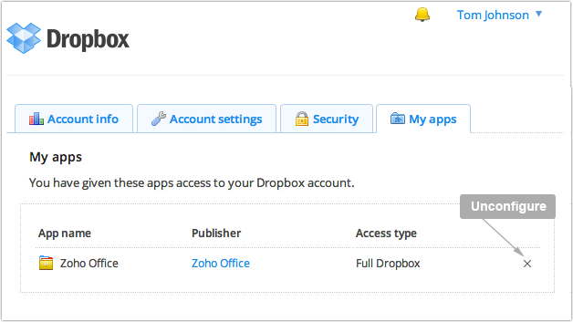 unconfigure Zoho Docs from Dropbox