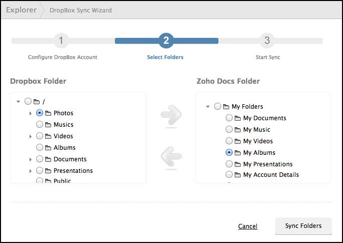 select Dropbox folders