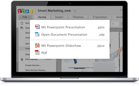 Export PowerPoint presentations