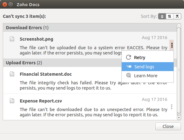 How to fix unexpected errors in Zoho Docs?