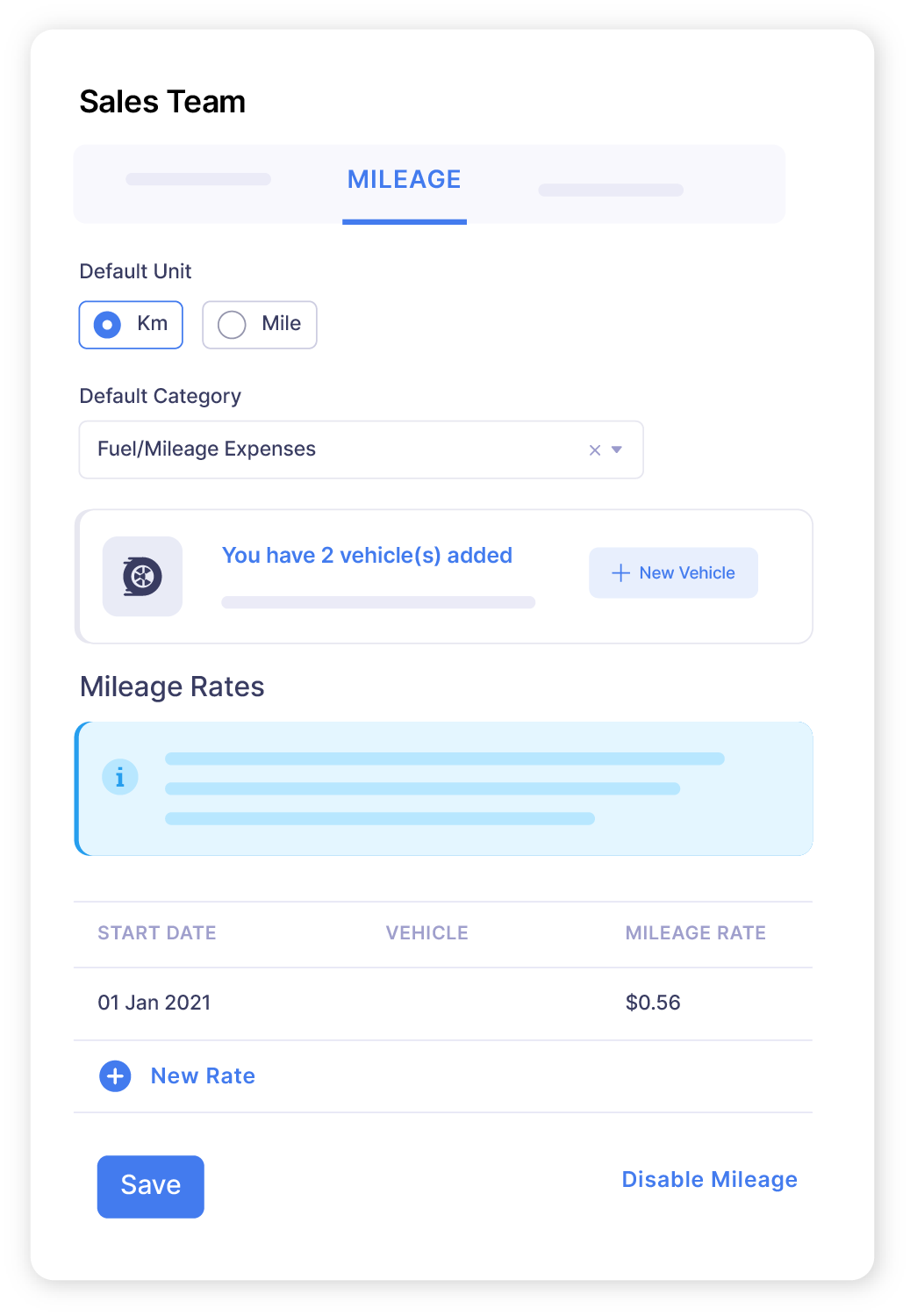 Screen showing the mileage reimbursement laws