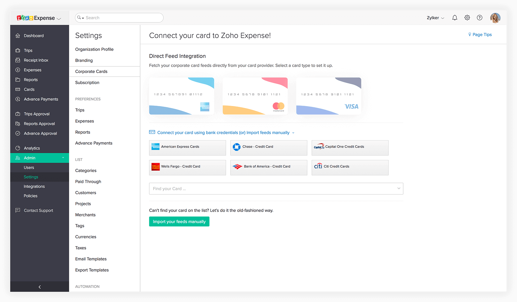 Screenshot of corporate cards in Zoho Expense