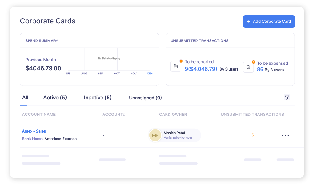Screen of a corporate card dashboard in Zoho Expense