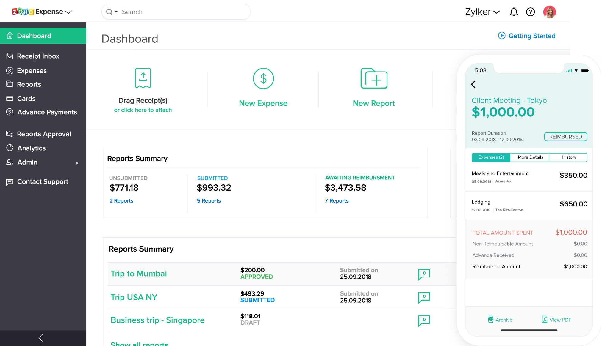 Expense management software dashboard