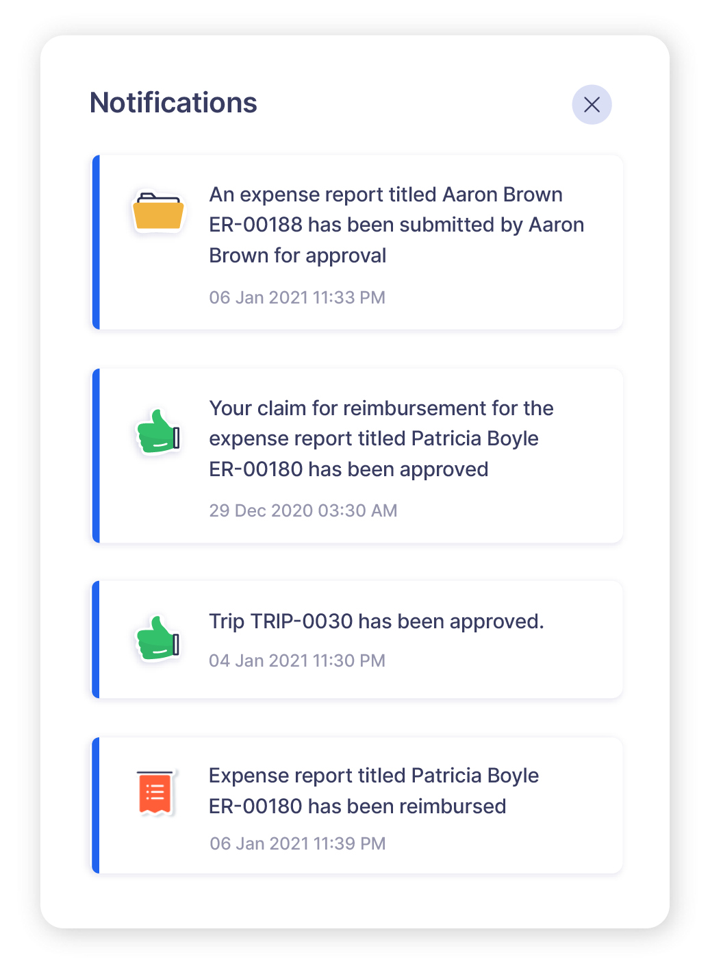 Screen depicting the expense report approval notifications