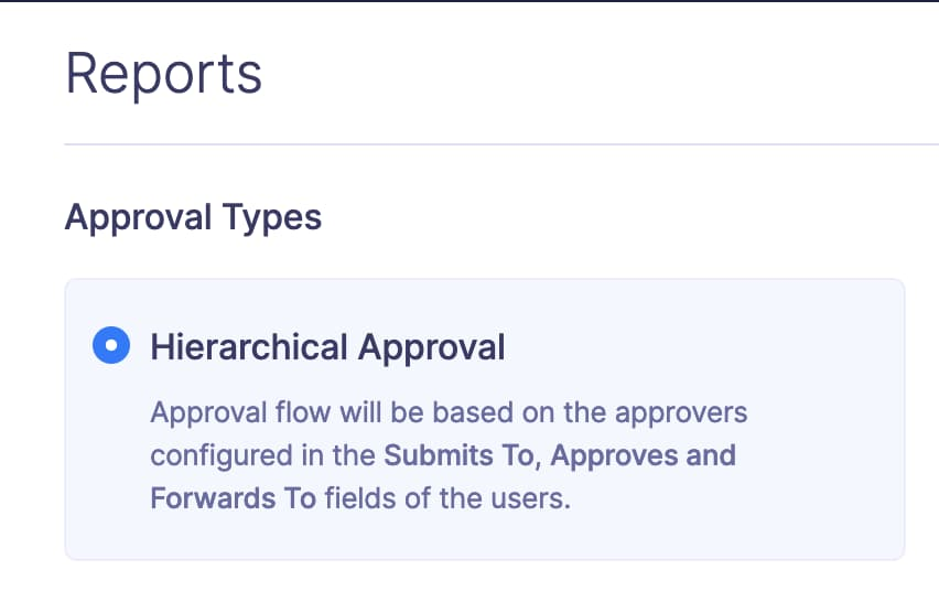 Screenshot showing hierarchical approval