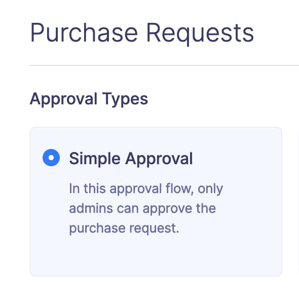 Screen showing simple approval flow