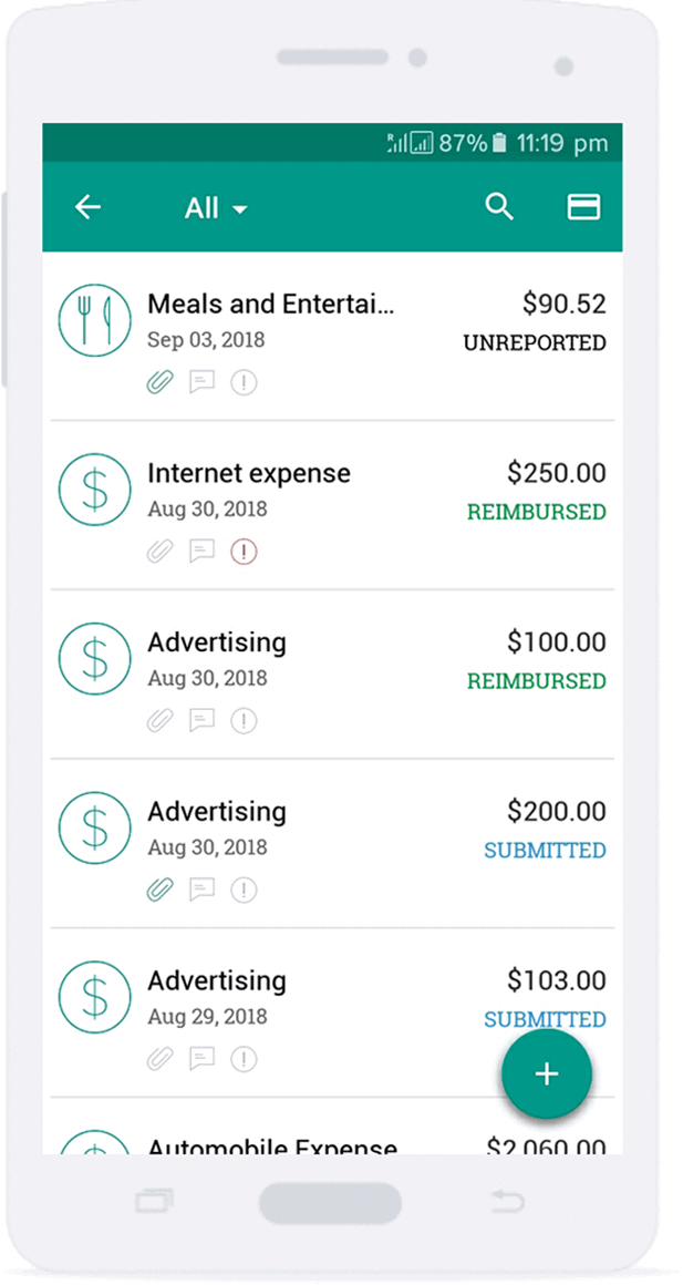 Zoho Expense app for Android-phone