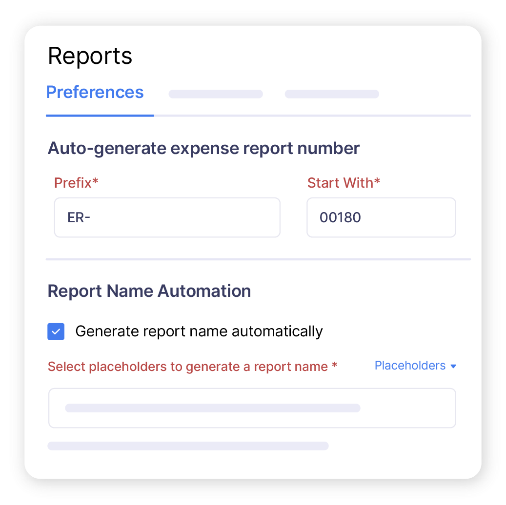 Expense report management software screen showing the auto-generated expense report name and number