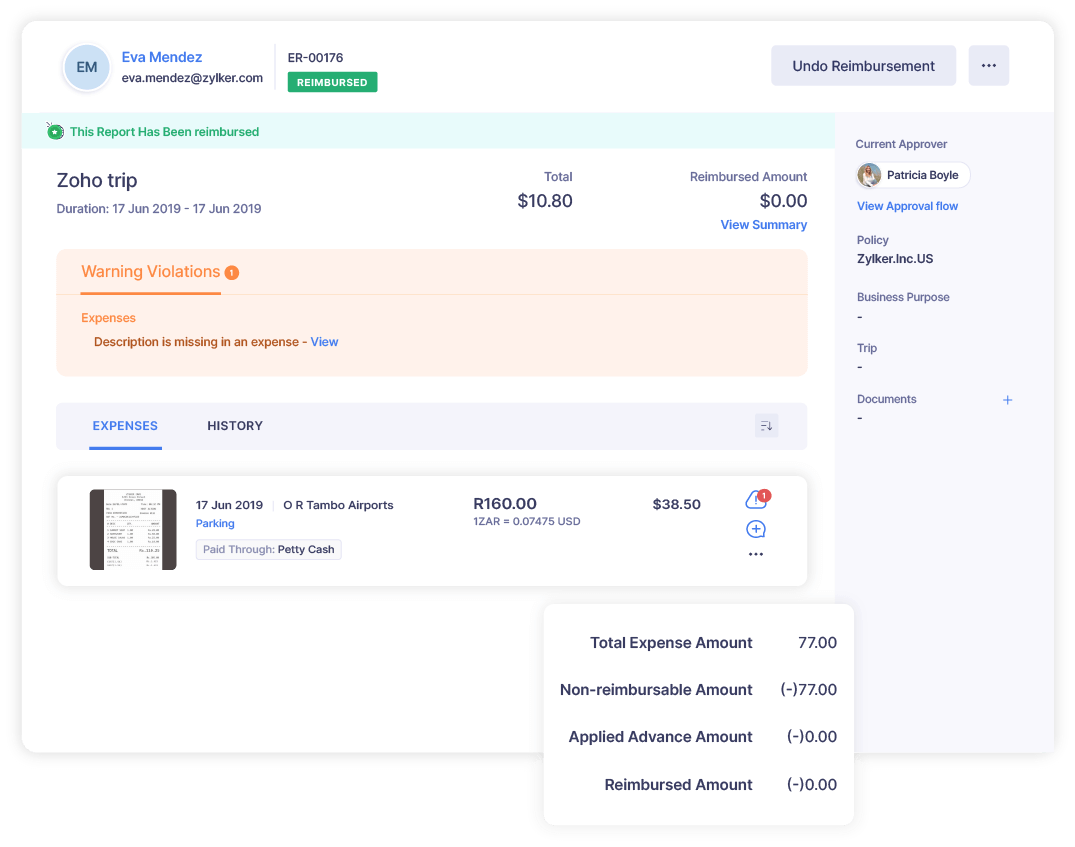 Screenshot of a comprehensive expense report in Zoho Expense