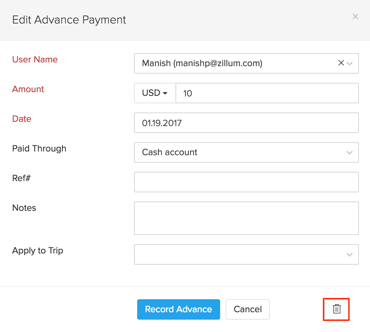 Deleting advance payment