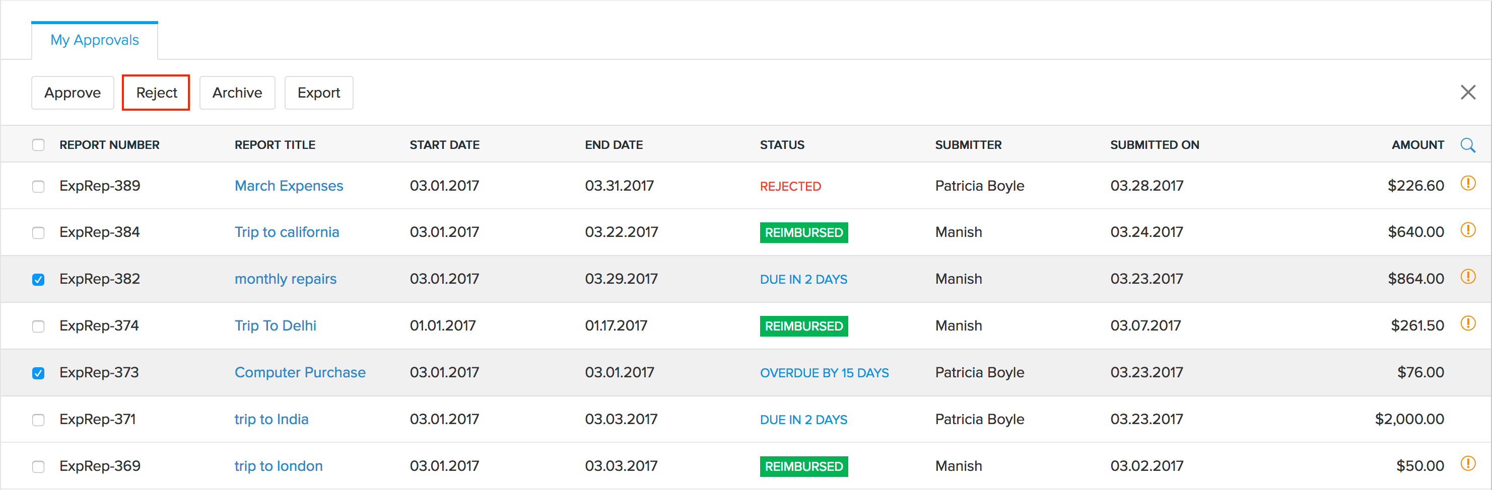 Bulk Reject Reports