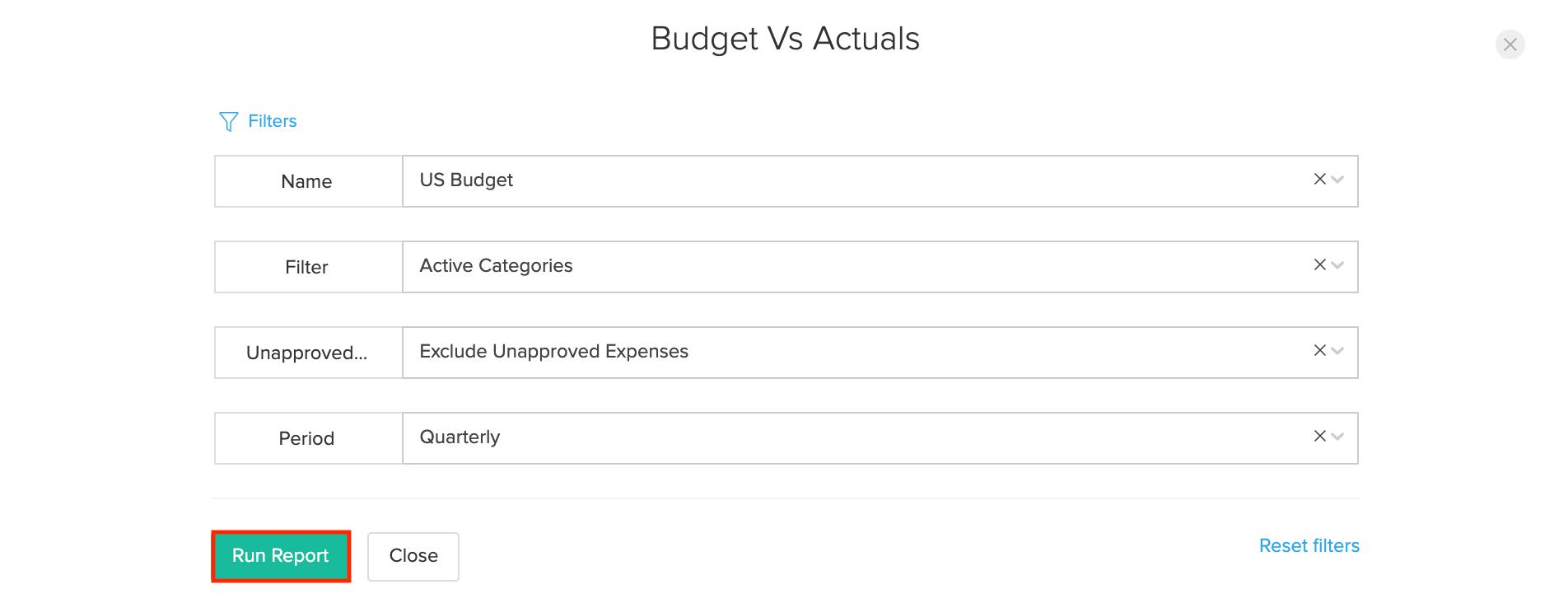 Budgetvs Actuals Report
