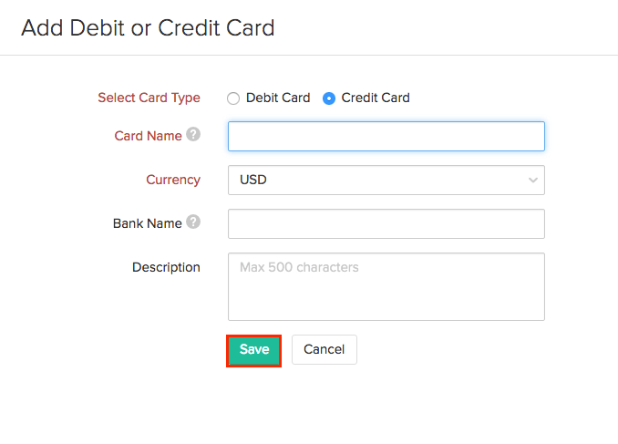 Adding card info manually