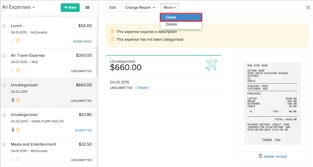 Clone Expenses