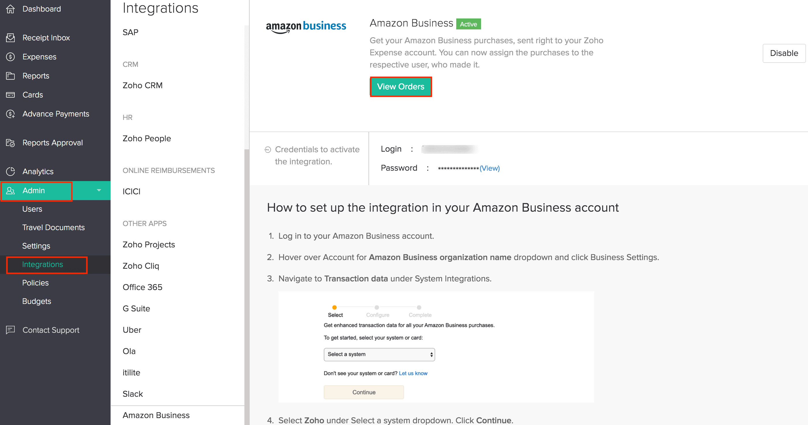 Amazon Business Integration Details