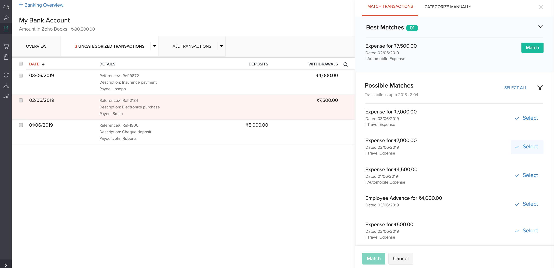 Matching reimbursements in books