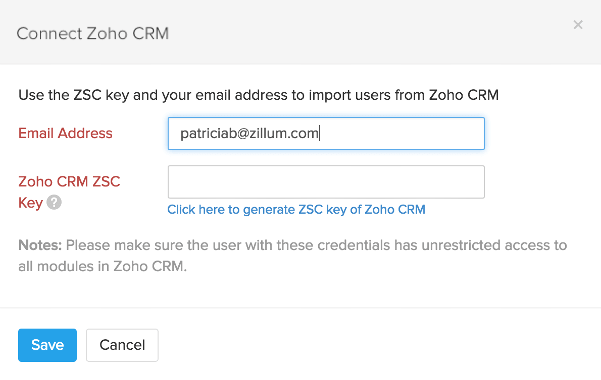 Connect Zoho CRM