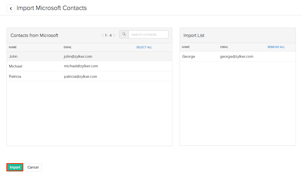 Selecting contacts