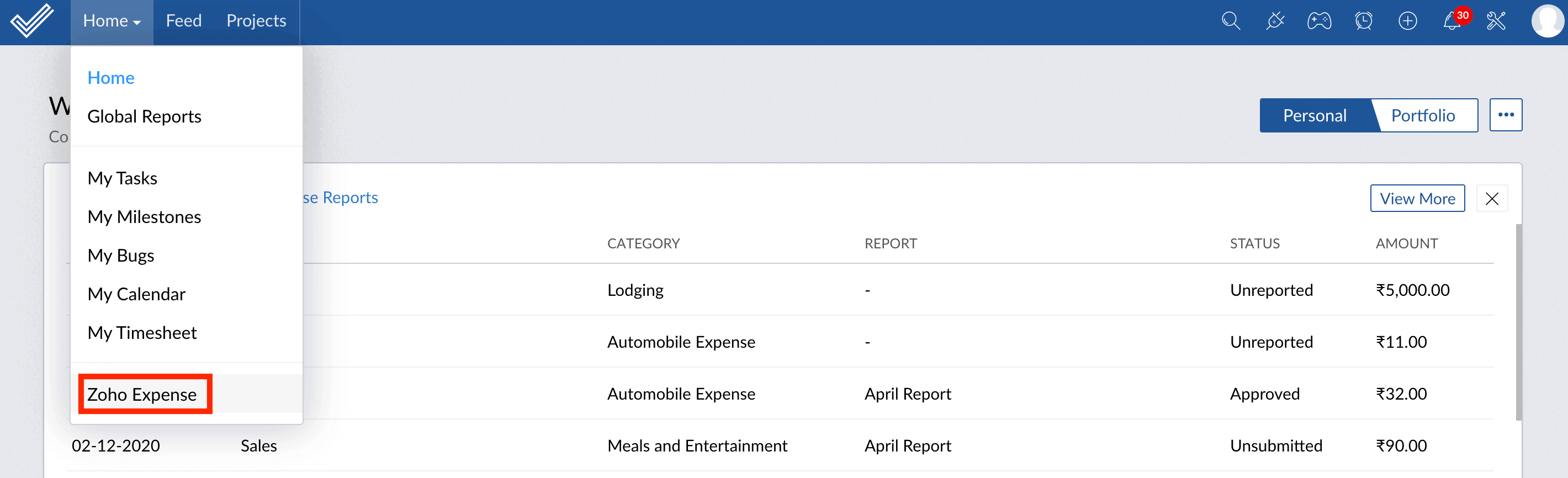 Access Expenses and Reports module in Zoho Projects