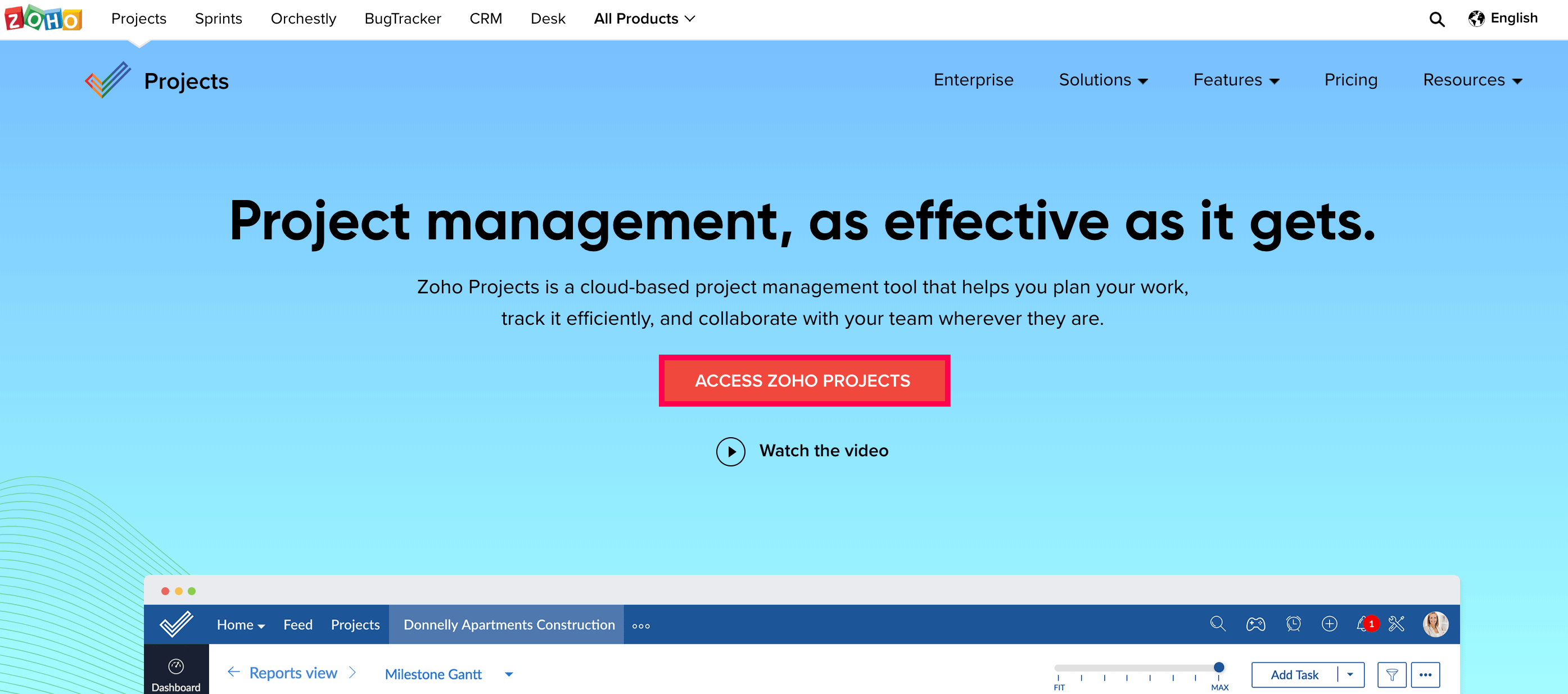 Zoho Projects Home Page