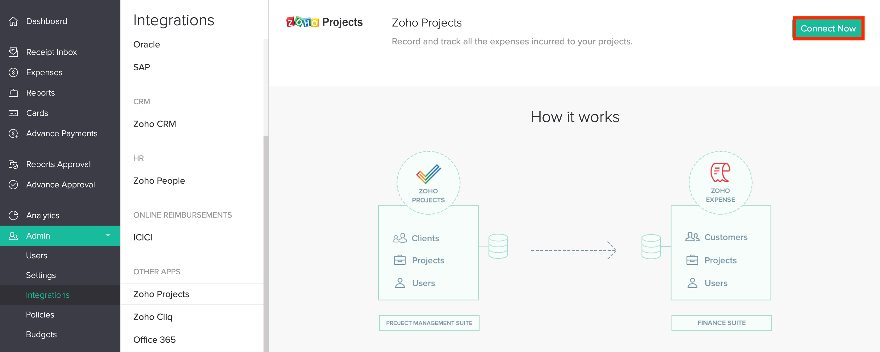 Connect to Zoho Projects