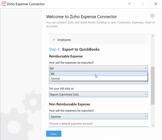 Export to QuickBooks Desktop for reimbursable expenses