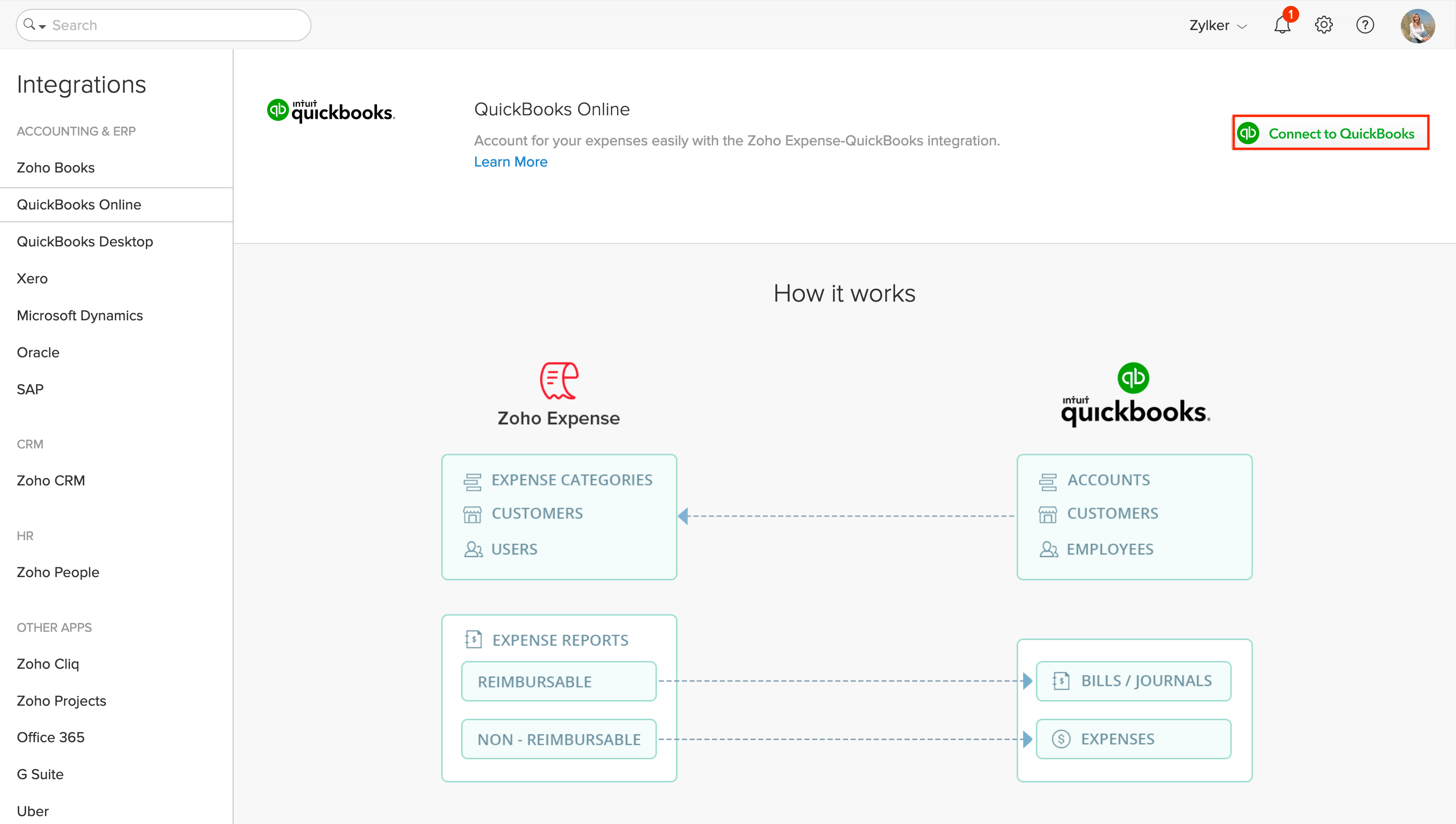 Initiate setup with QuickBooks