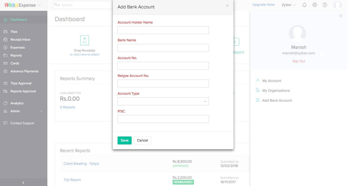Adding employee bank account in Zoho Expense