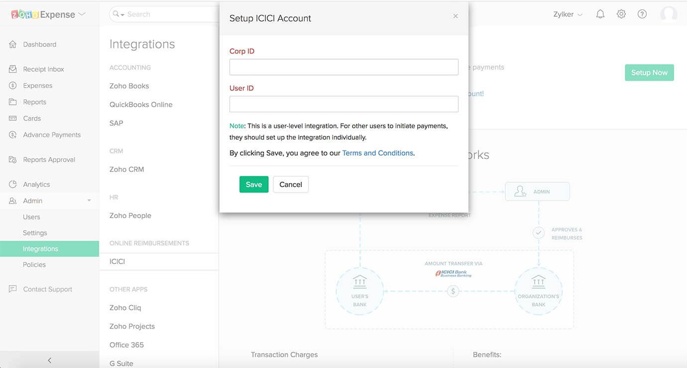 Add ICICI account corp ID in Zoho Expense
