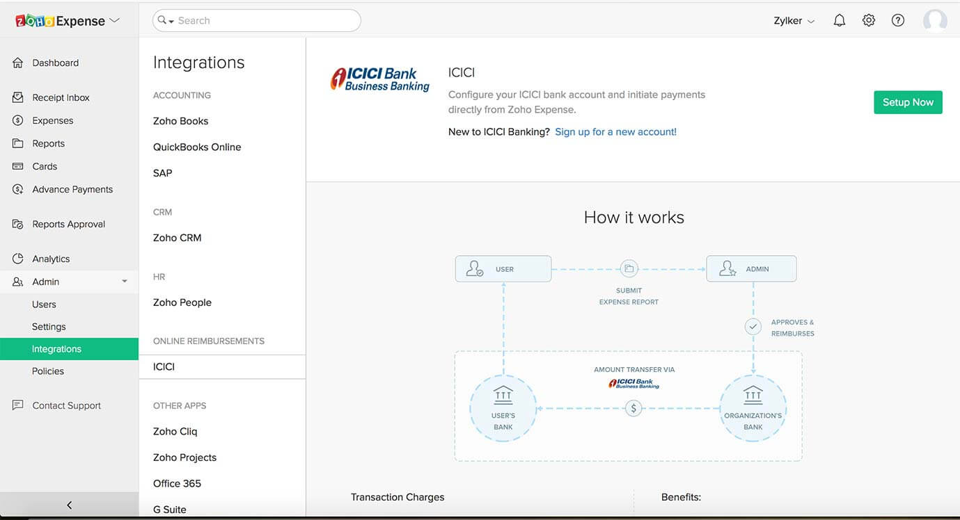 Set up ICICI account in Zoho Expense