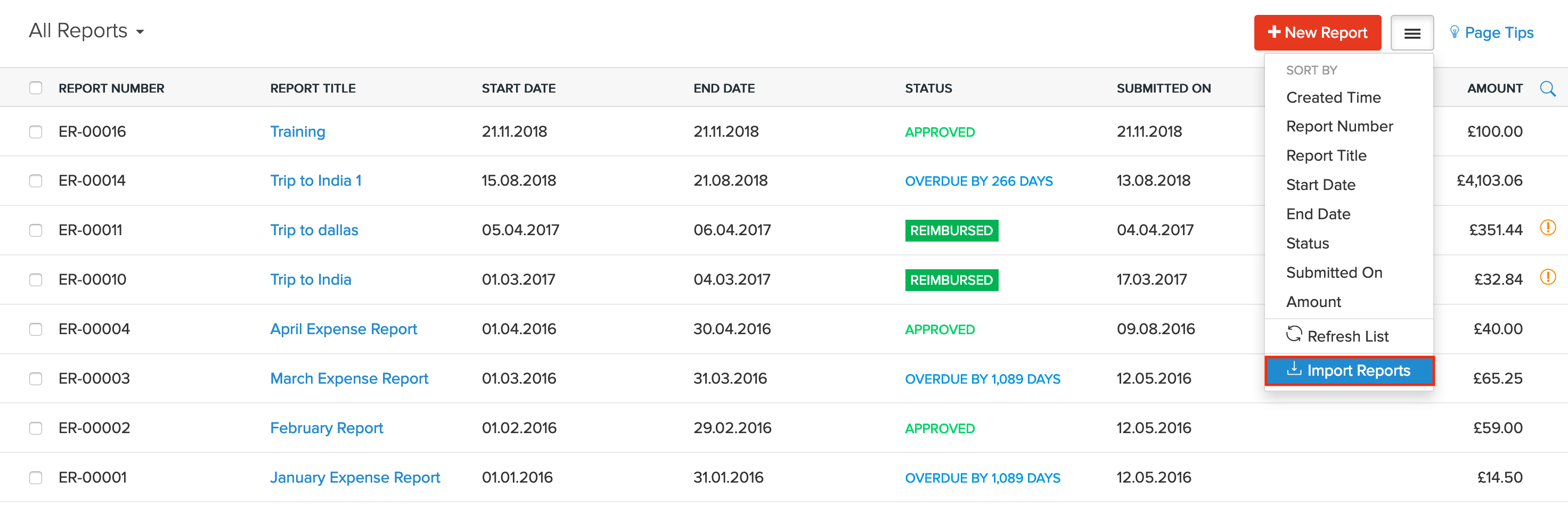 Reports | Zoho Expense | Help