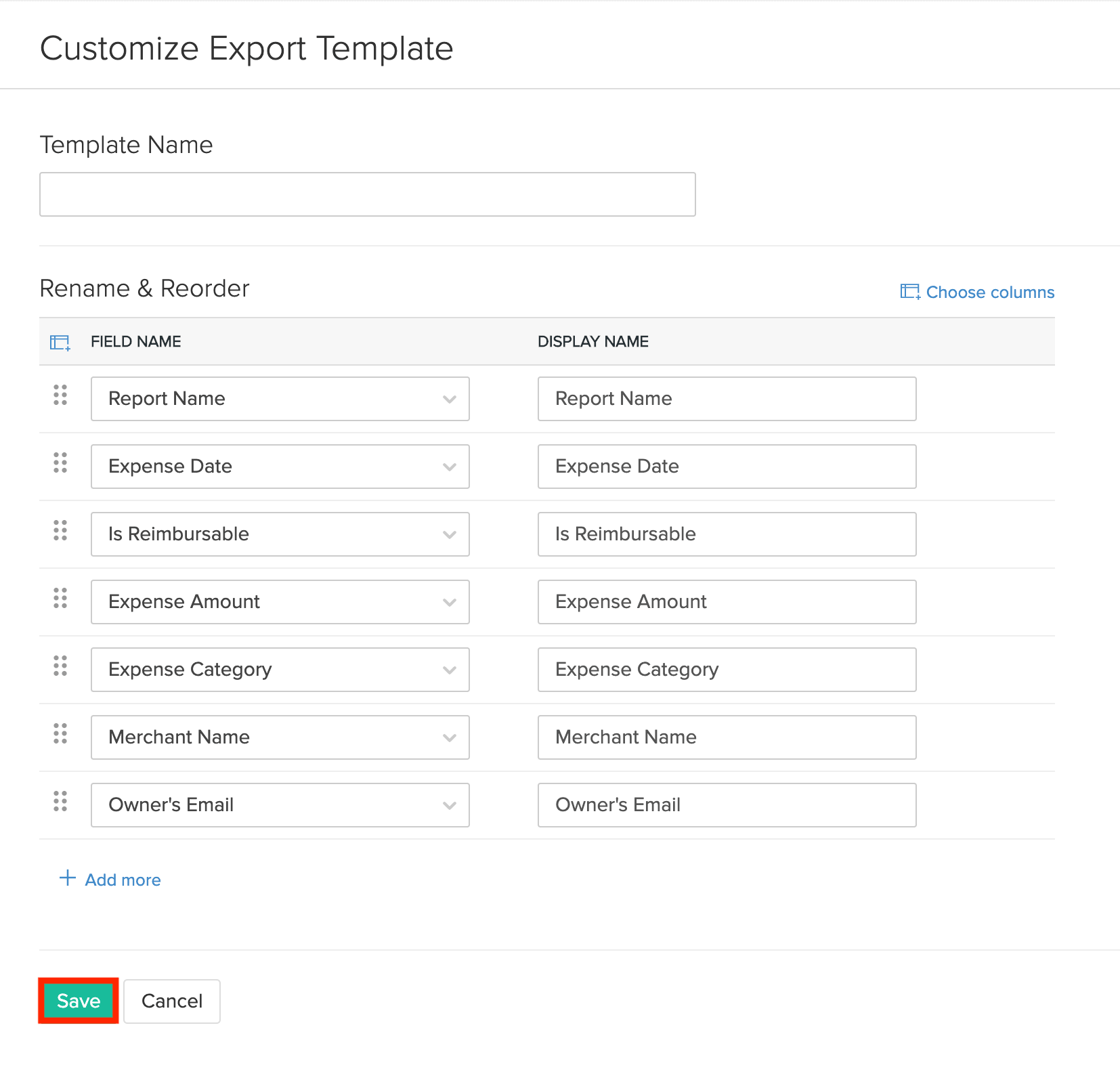 Select Fields For Export Template Corresponding To Expense Report