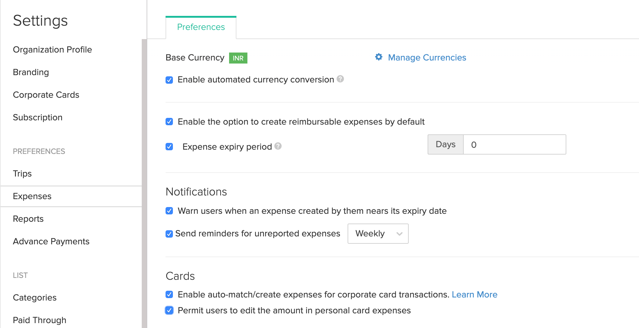 Expenses Preferences