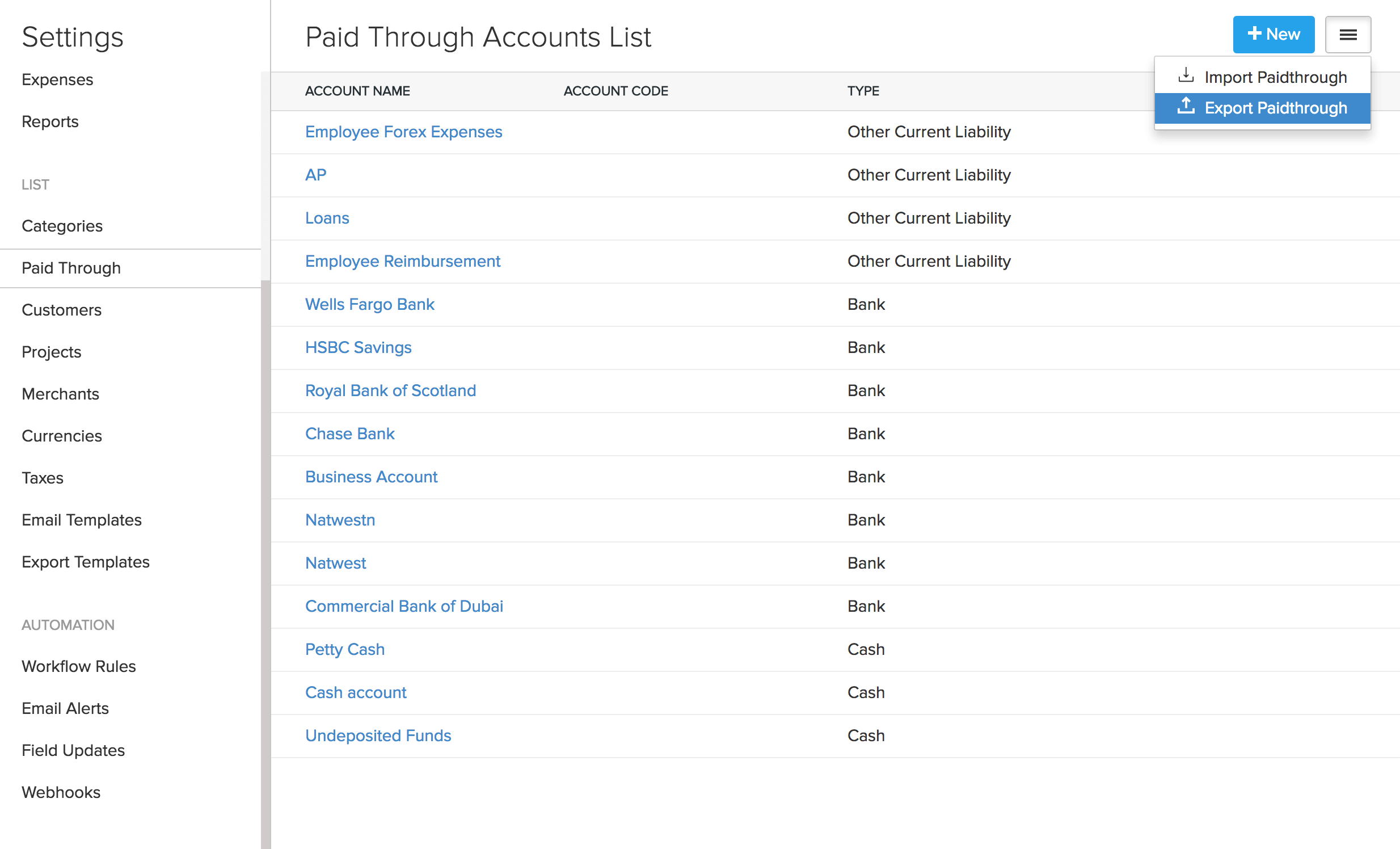Export paid through accounts