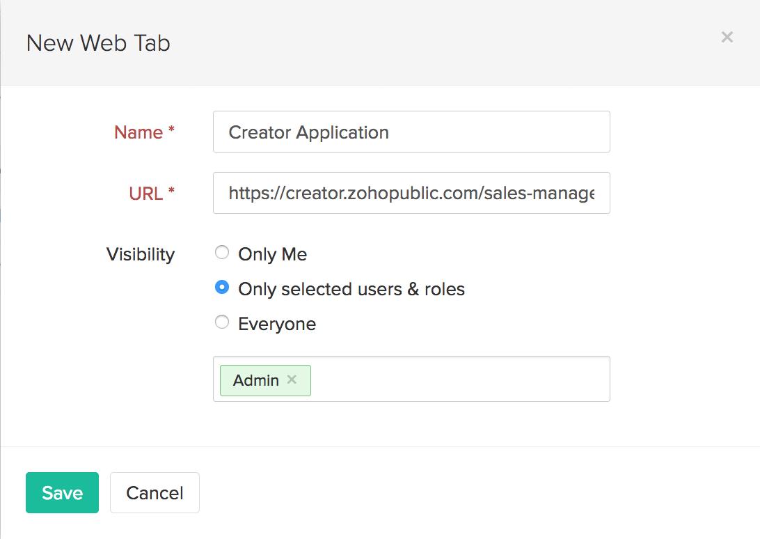 Create Web Tab