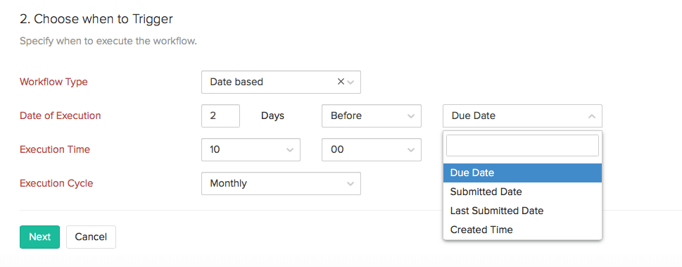 Date based workflow