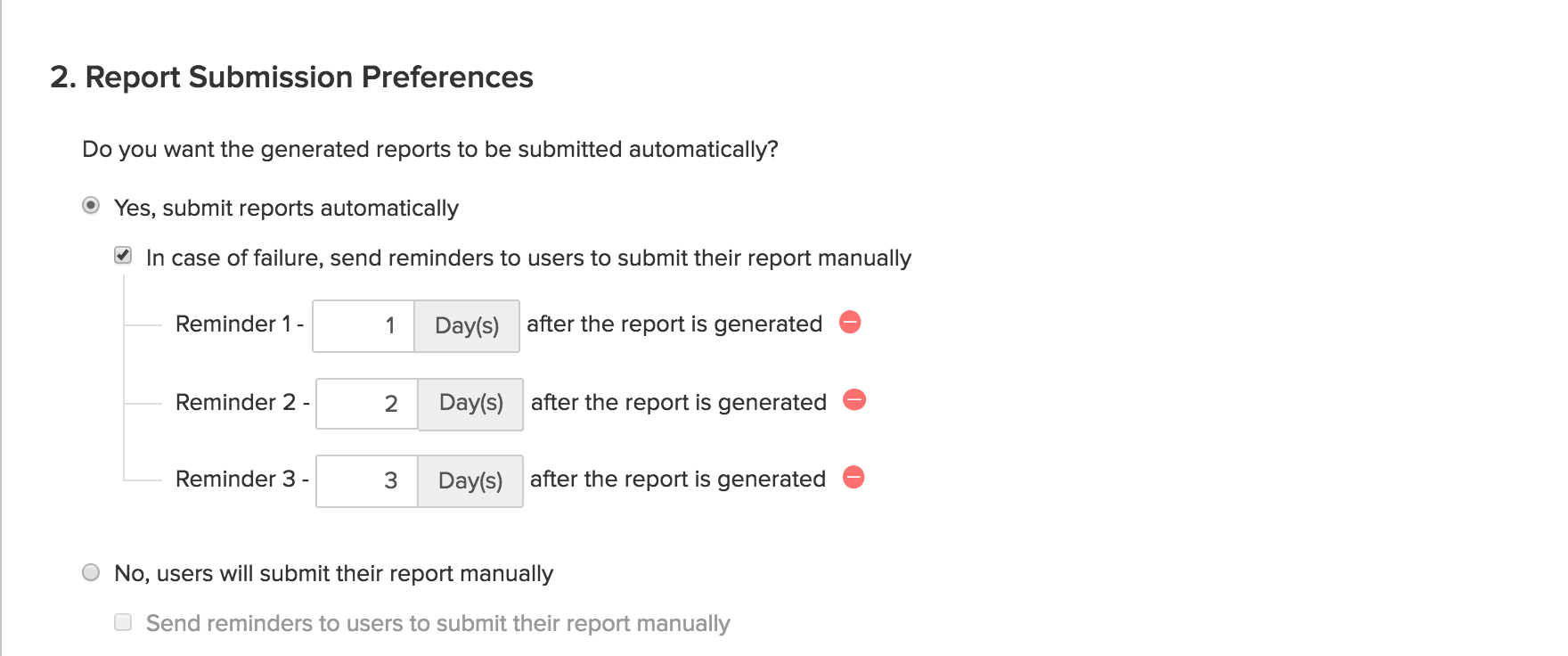 Set Report Submission Preferences