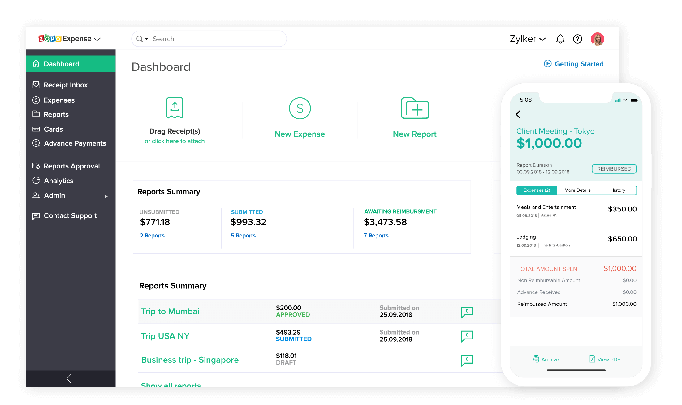 Expense Report | Online Expense Report | Zoho Expense on quicken expense reports, business expense reports, sap expense reports, access database expense reports, quickbooks cash receipts,