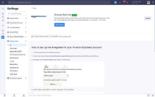 Setting up the Amazon Business integration - Zoho Expense