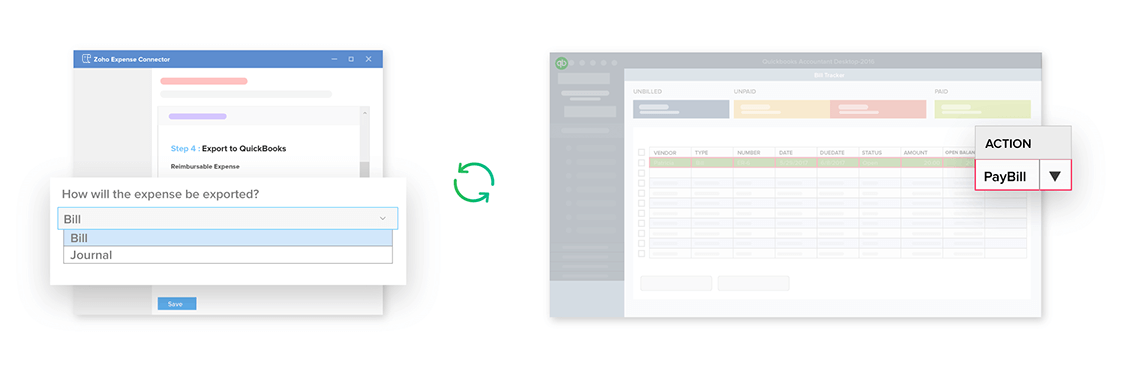 Two way integration between Zoho Expense and QuickBooks