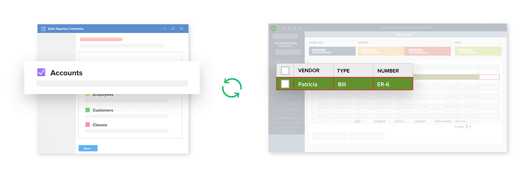 Create expenses using expense accounts from Quickbooks