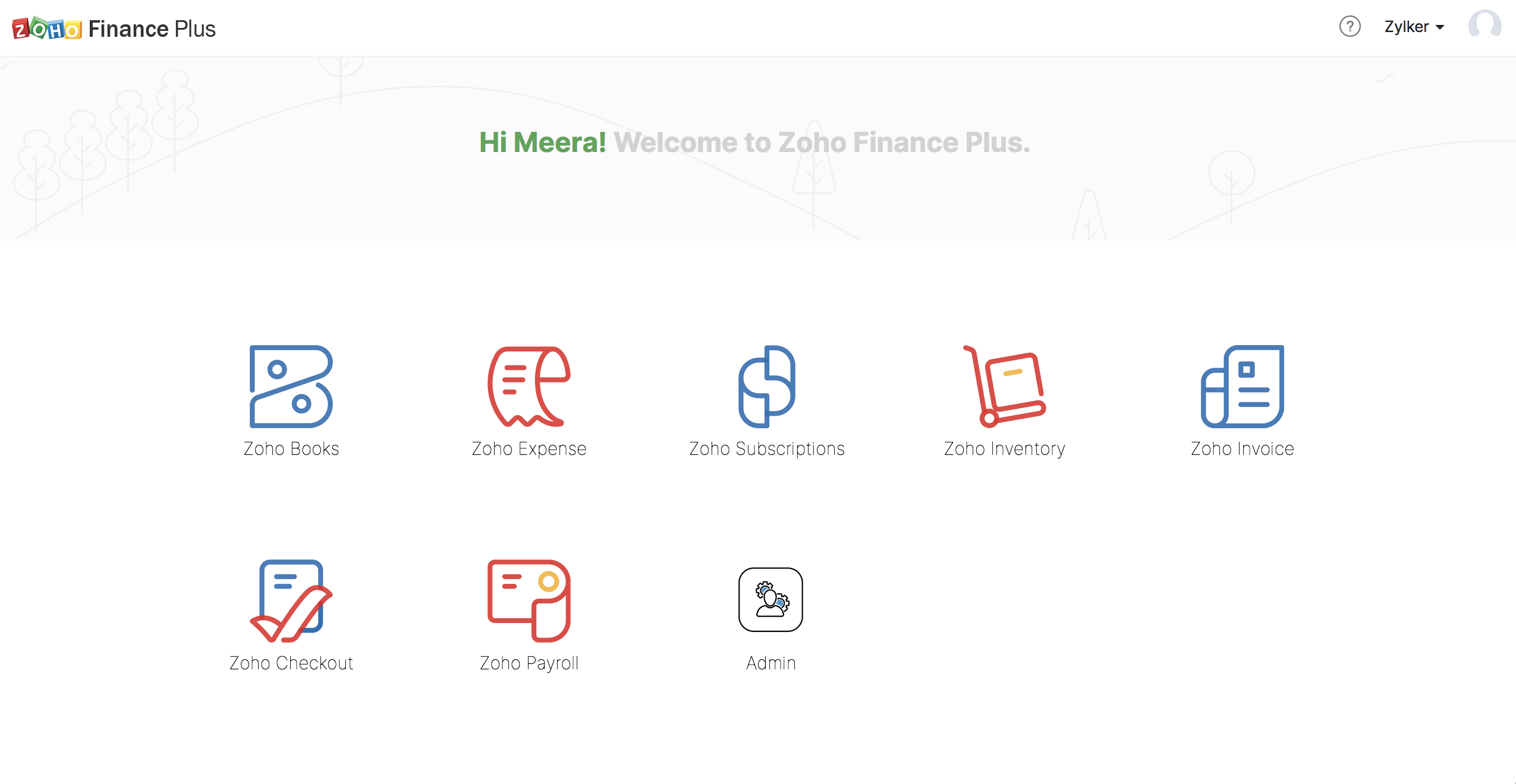 Zoho Finance Plus home page