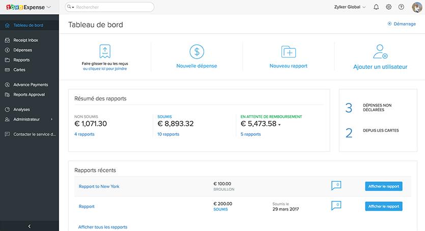 Logiciel de rapport de dépenses en ligne Zoho Expense