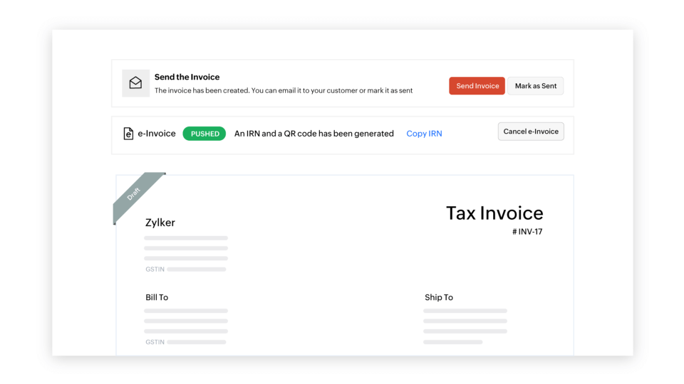 Cancel e-invoices as per your need - e-invoicing compliant software | Zoho Books