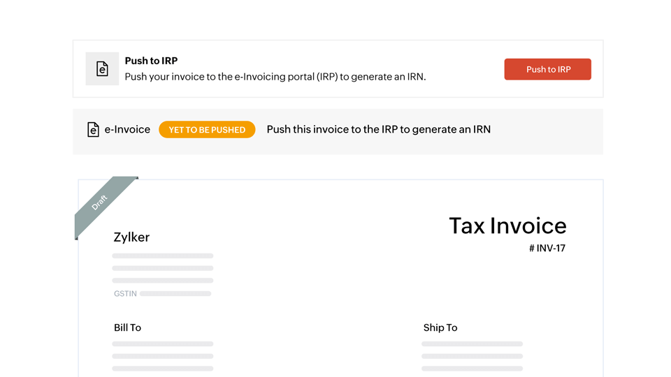 Send invoices to the IRP in a single click - e-invoicing compliant software | Zoho Books