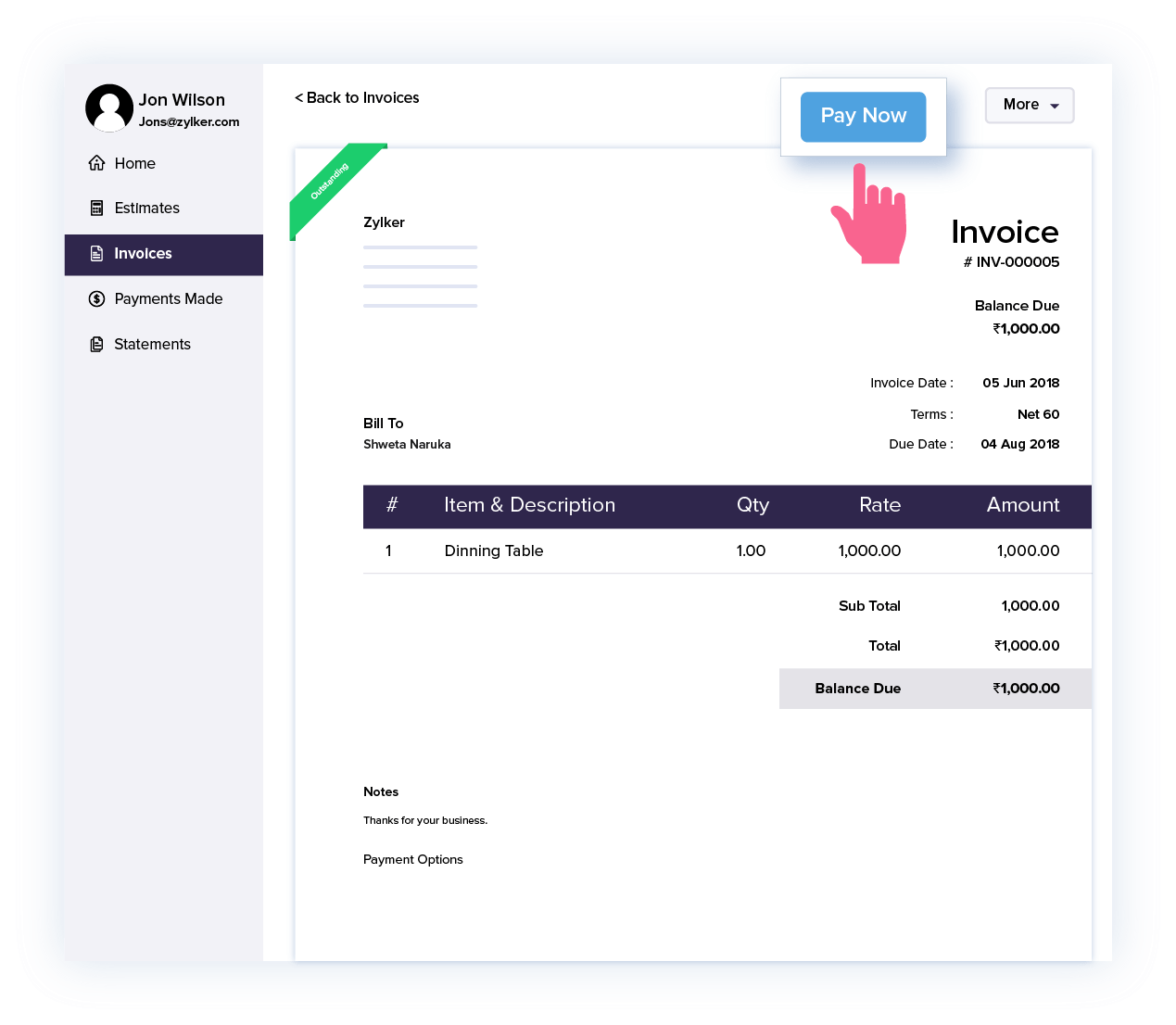 Get paid directly from the client portal